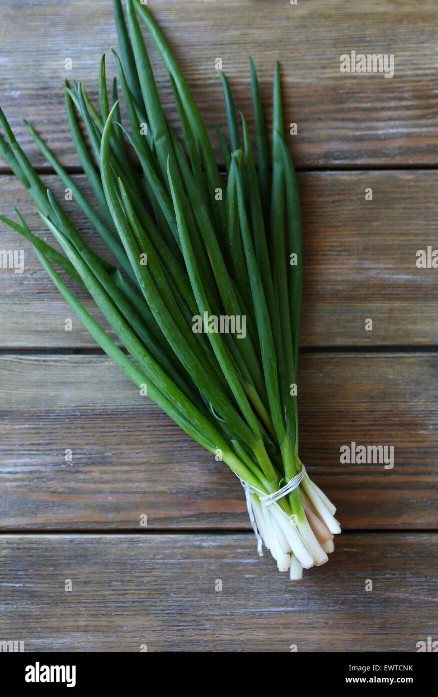 bundle of spring onions, fresh food - Stock Image