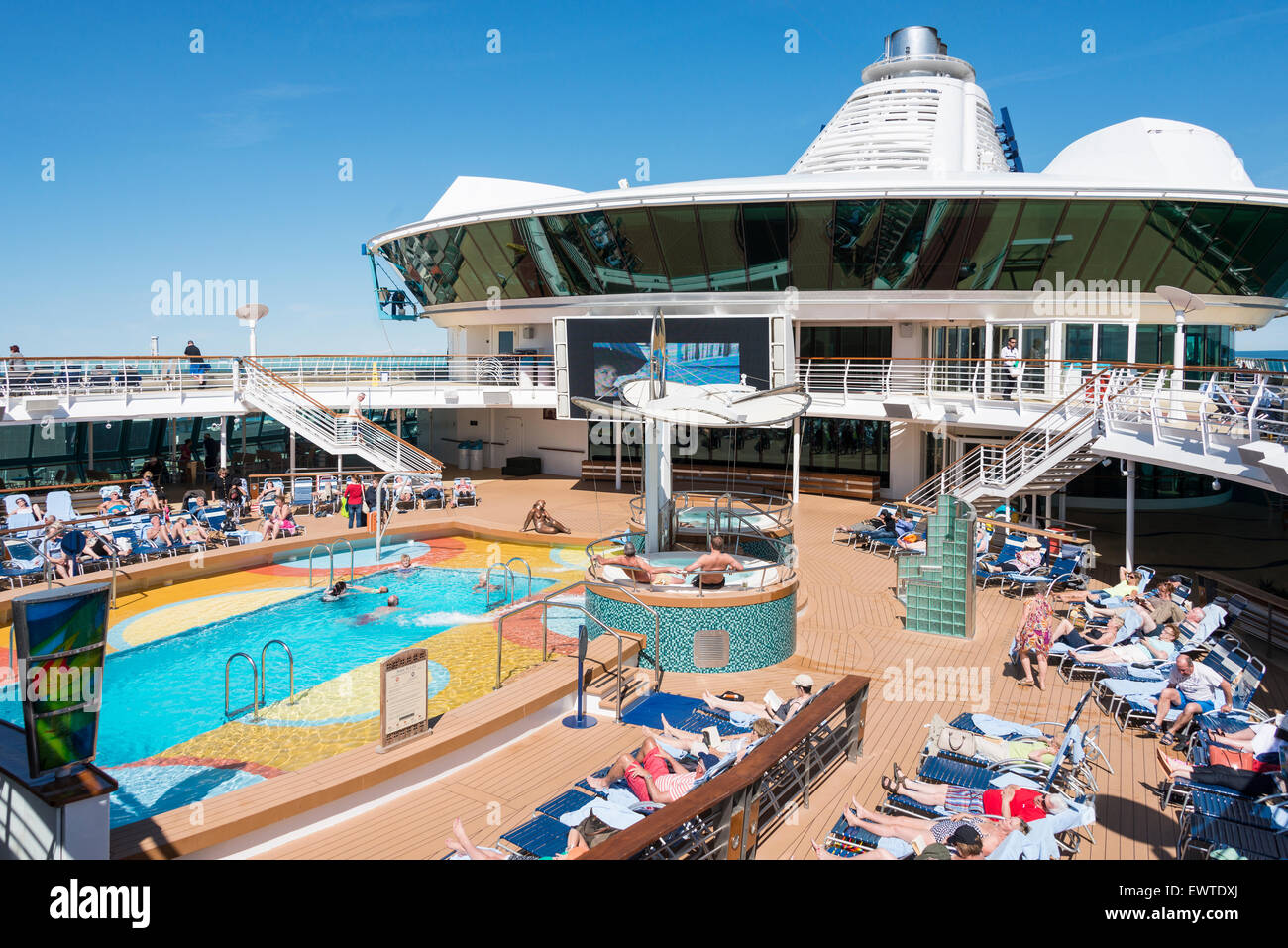 Sundeck of Royal Caribbean 'Brilliance of the Seas' cruise ship, Baltic Sea, Northern Europe - Stock Image