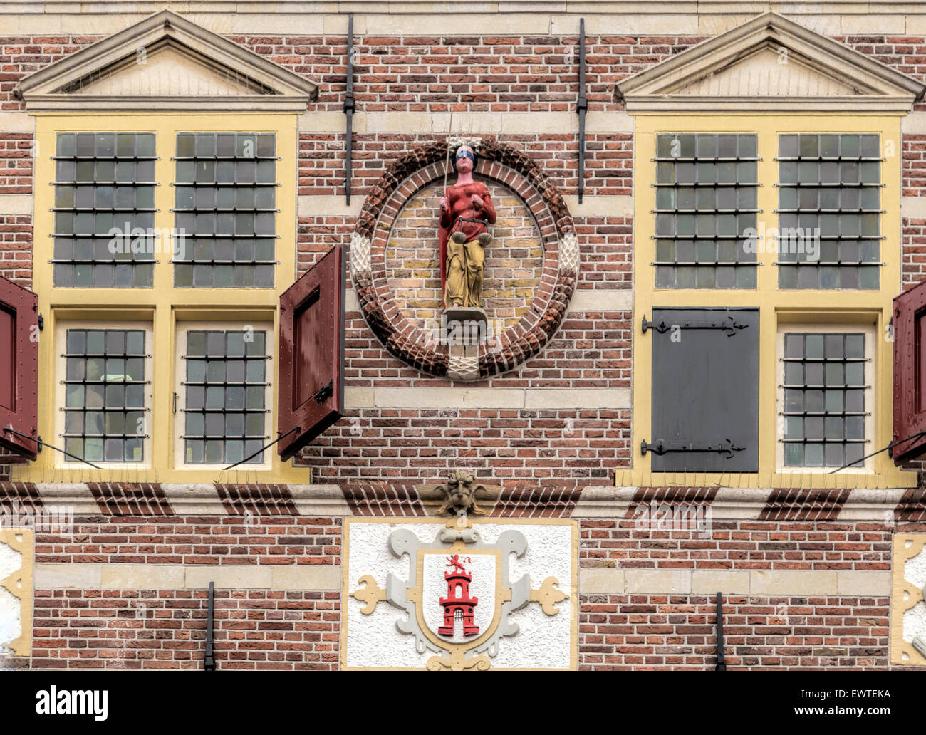 Detailed view of the facade of the City Hall (dating from 1588), in Dutch Renaissance style, Oudewater, Utrecht, - Stock Image