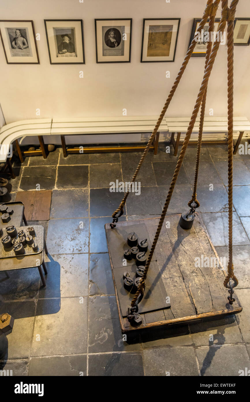 Interior of the Witches' Weigh House ( Heksenwaag) with view on the historic scales, Oudewater, Utrecht, in - Stock Image