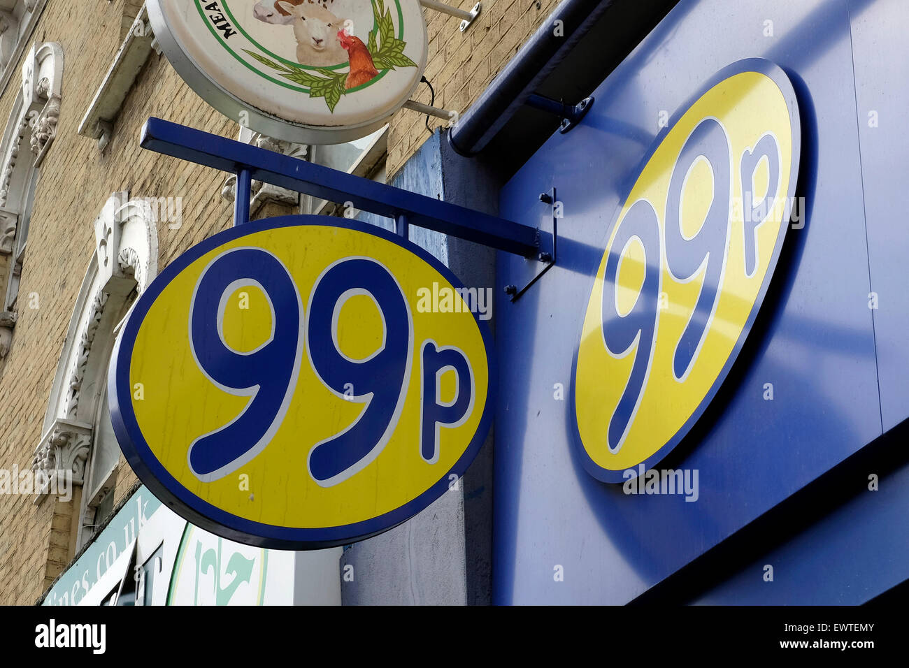 A close-up view of 99P store in Harlesden, London - Stock Image