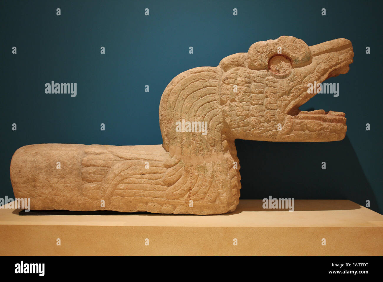 Feathered Snake, Chichén Itzá, Yucatán, Mexico Early post-Classic Period (AD 900-1250) - Stock Image