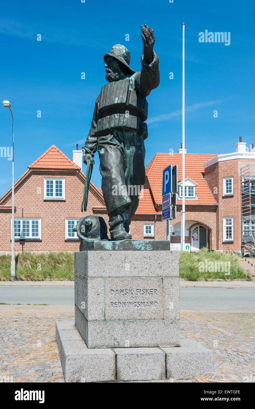 Danish Fisherman and Rescuer (Dansk Fisker og Redningsmand) statue on waterfront, Skagen, North Jutland Region, - Stock Image