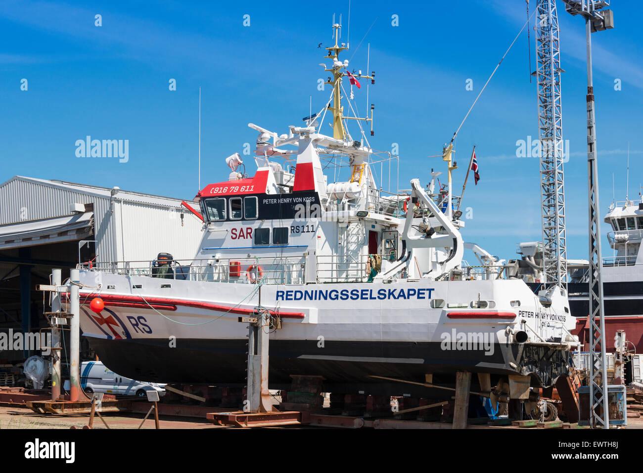 Severn-class Lifesaving boat in dry dock, Skagen, North Jutland Region, Denmark - Stock Image