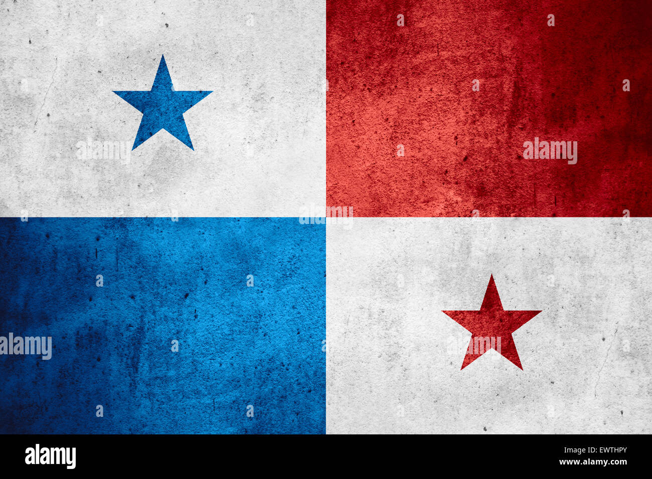 flag of Panama or Panamanian on rough pattern texture background - Stock Image