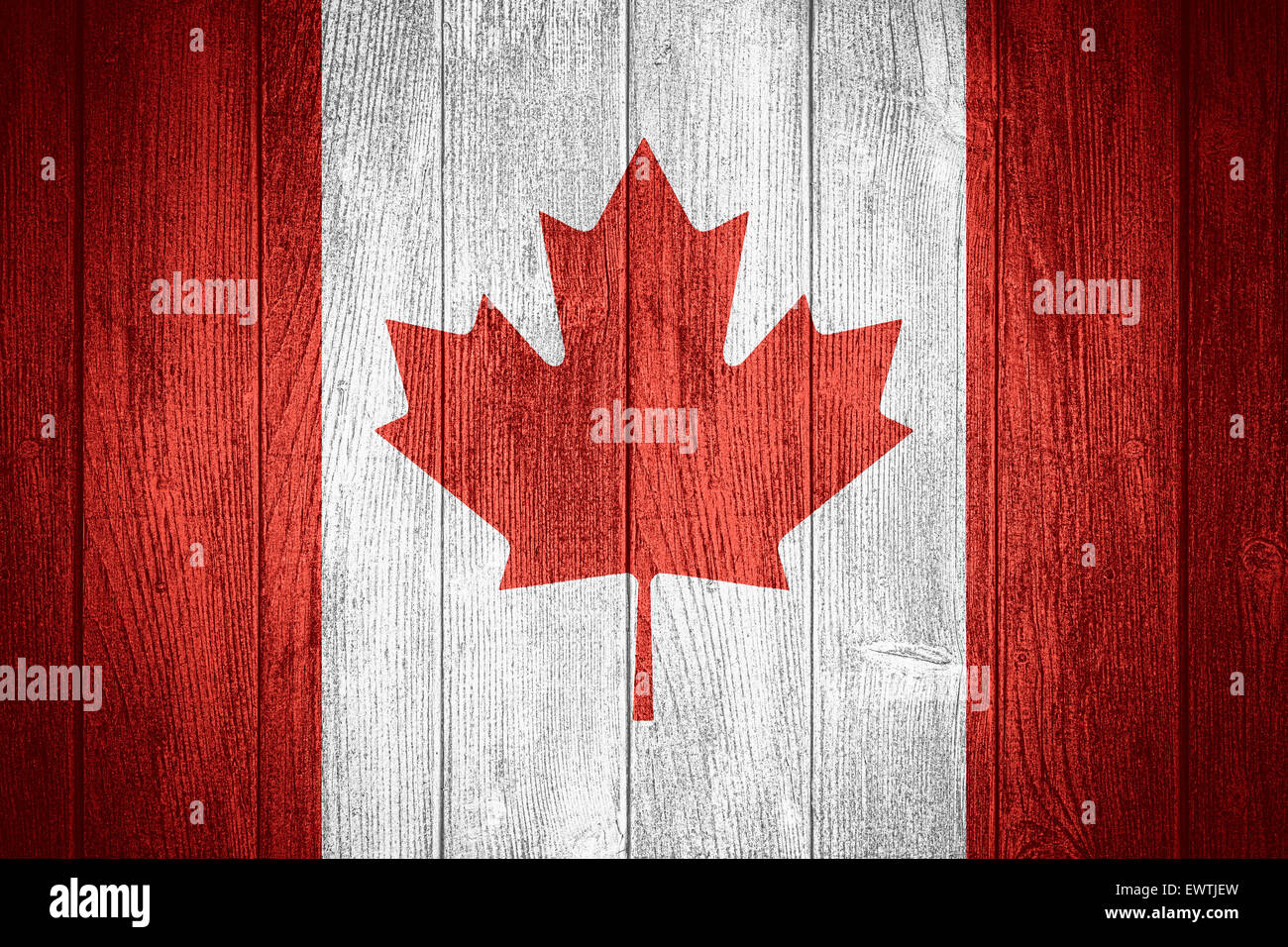 canada flag or canadian banner on wooden boards background stock