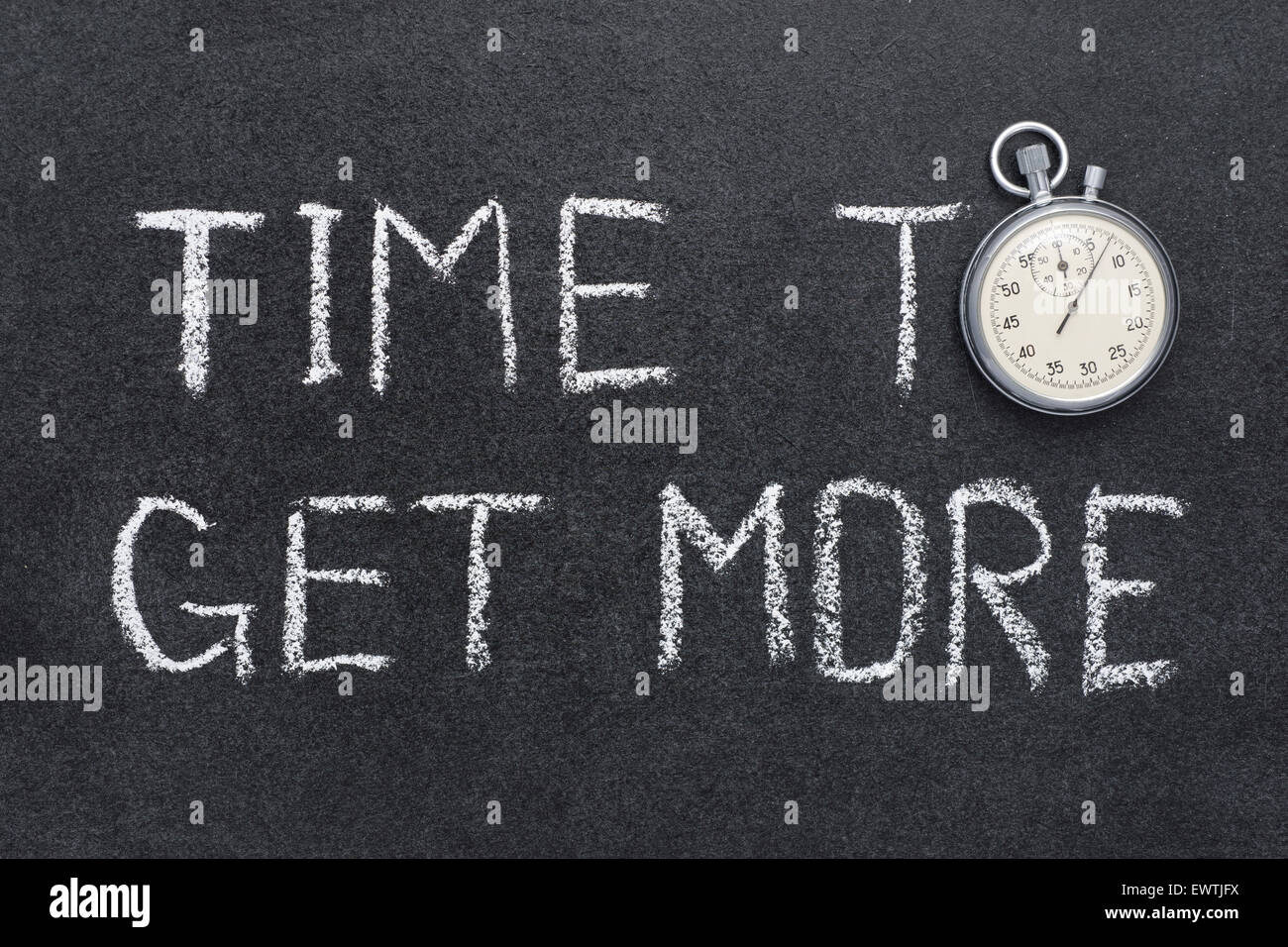 time to get more concept handwritten on chalkboard with vintage precise stopwatch used instead of O - Stock Image
