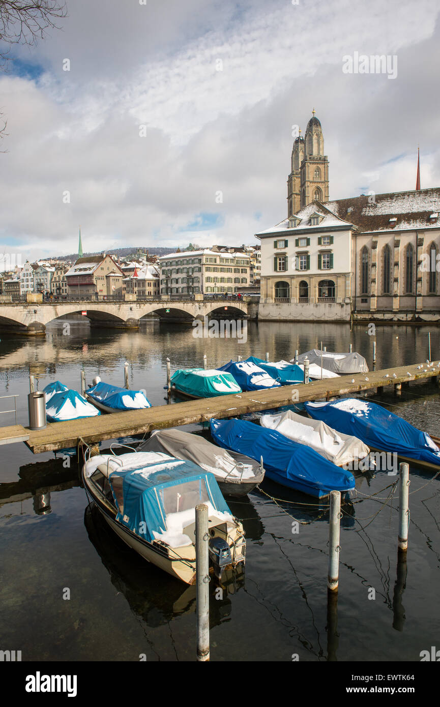 Zurich Switzerland - Boats docked on the Limmat River - Stock Image