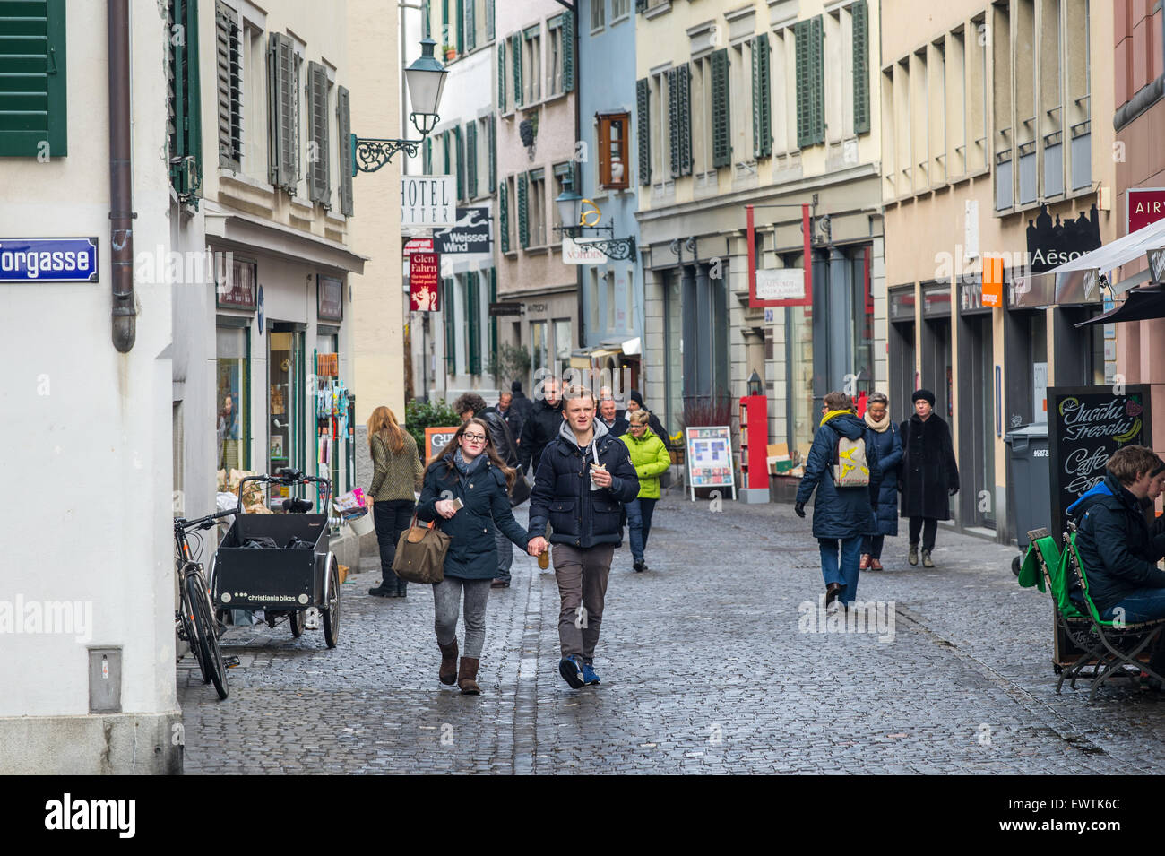 Zurich Switzerland - People walking down street - Stock Image