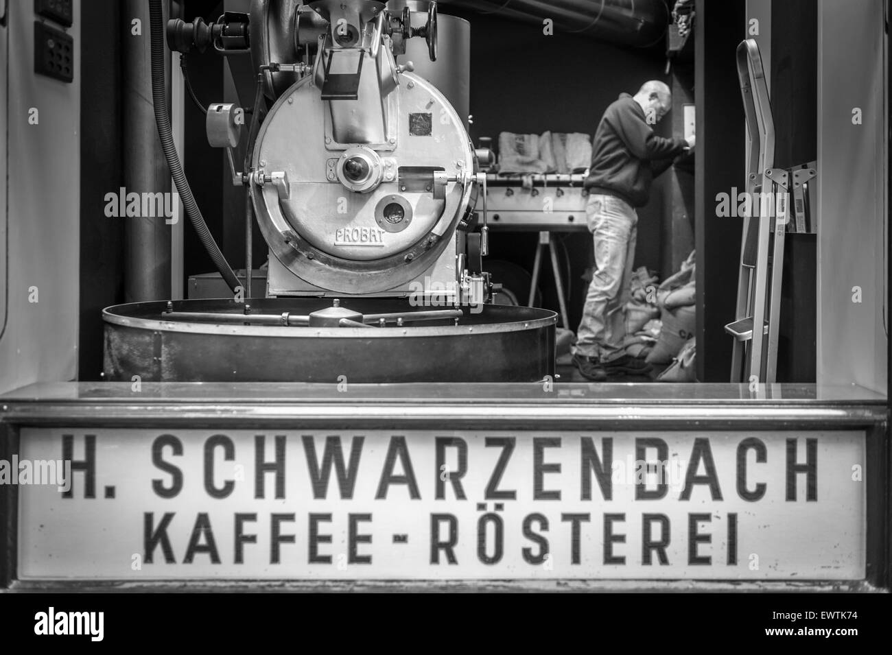 Black and White of coffee roasting in Zurich Switzerland, Europe - Stock Image