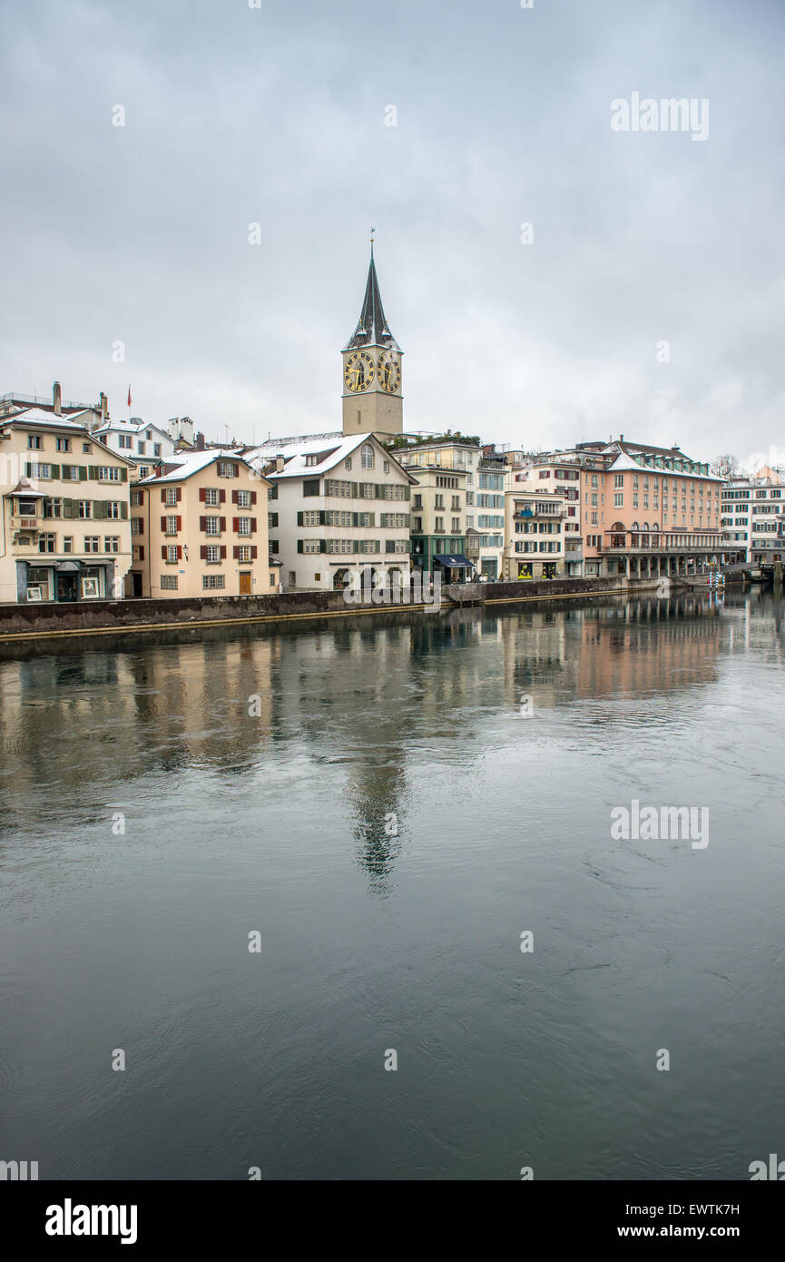 Limmat river and scenic skyline of Zurich Switzerland, Europe - Stock Image