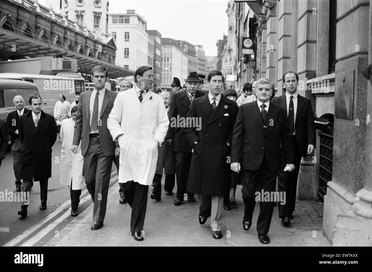 Prince Charles, Prince of Wales, visits Smithfield Market. 4th November 1980. - Stock Image