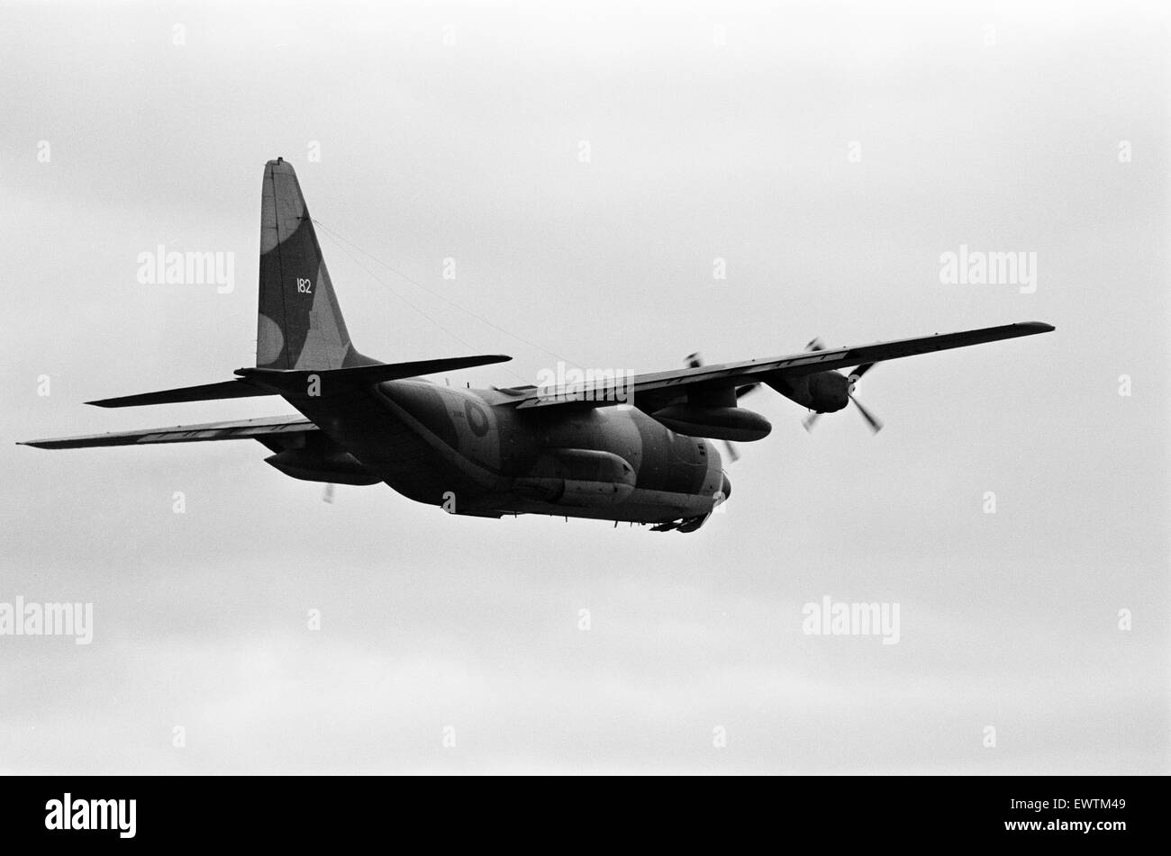 A Hercules of RAF Transport Command seen here at the Tees Valley Airshow, Durham Tees Valley Airport, Darlington, - Stock Image