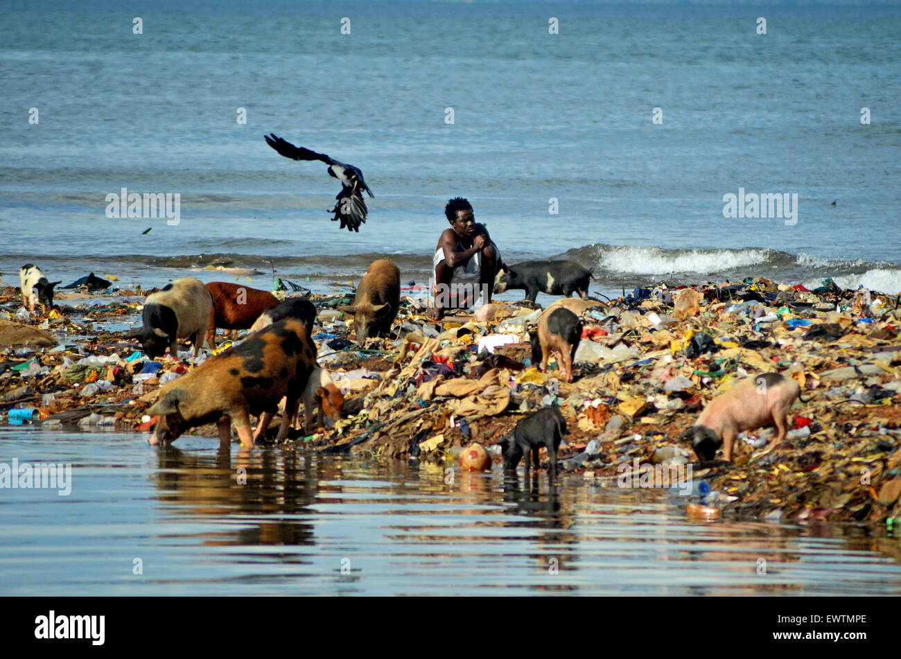 Kroo Bay, Sierra Leone, during an outbreak of cholera in 2012. - Stock Image