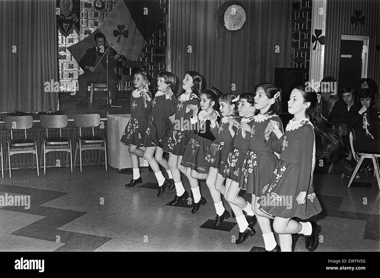 St Patrick's Day in Teesside, Girls dancing to Irish folk music. 17th March 1980 - Stock Image
