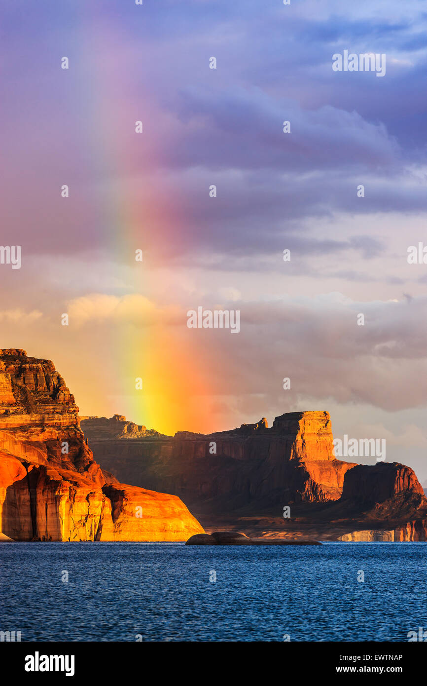 Rainbow over the Padre Bay, from Cookie Jar Butte. Lake Powell, Utah, USA - Stock Image