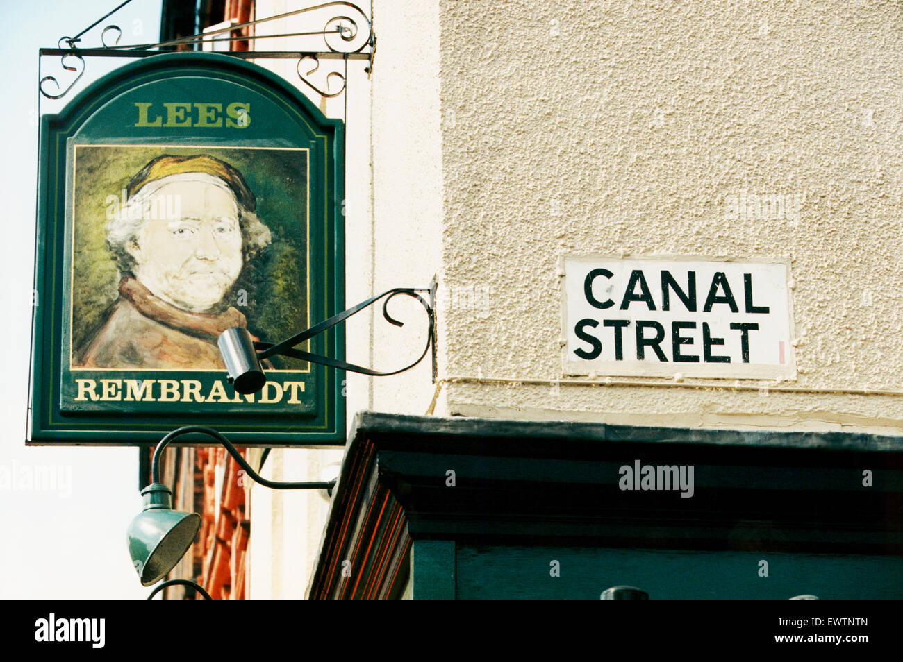 Canal Street, the centre of the Manchester Gay Village, is a street in Manchester city centre in North West England. - Stock Image