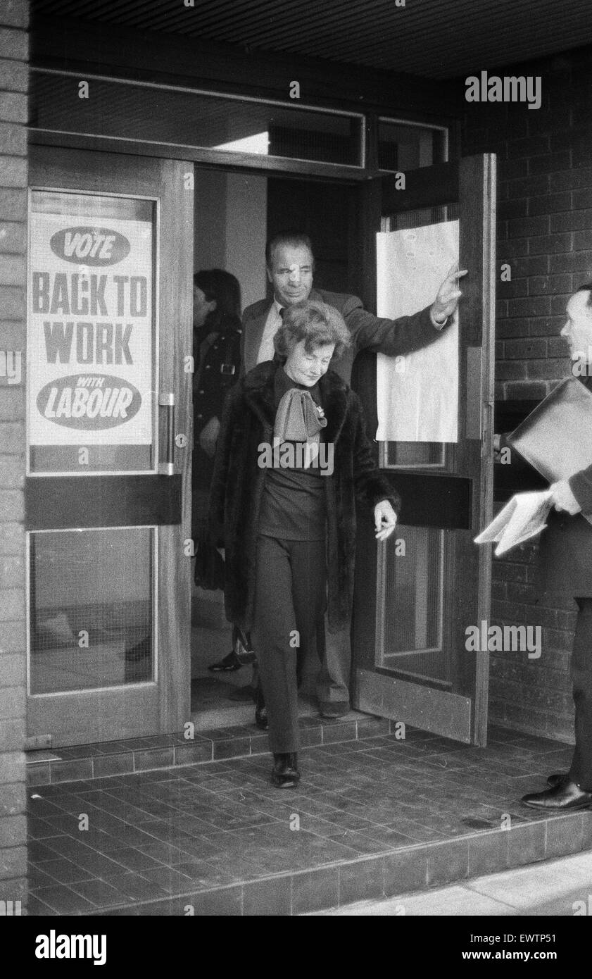 Barbara Castle, Member of Parliament for Blackburn, pictured campaigning in Salford, Greater Manchester, ahead of - Stock Image