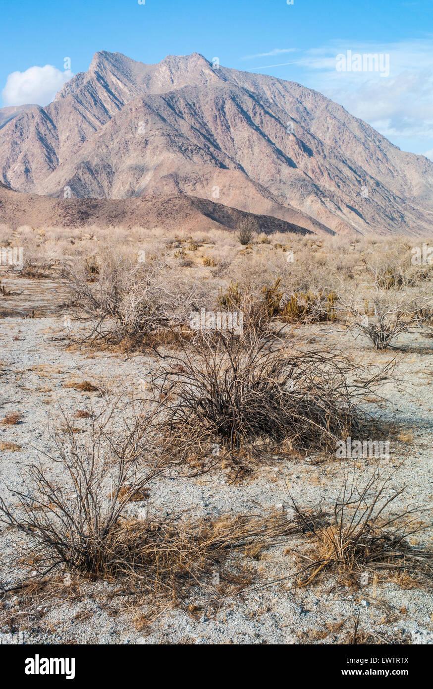 Desert, mountains and blue sky in Anza Borrego National Park, California, USA. - Stock Image