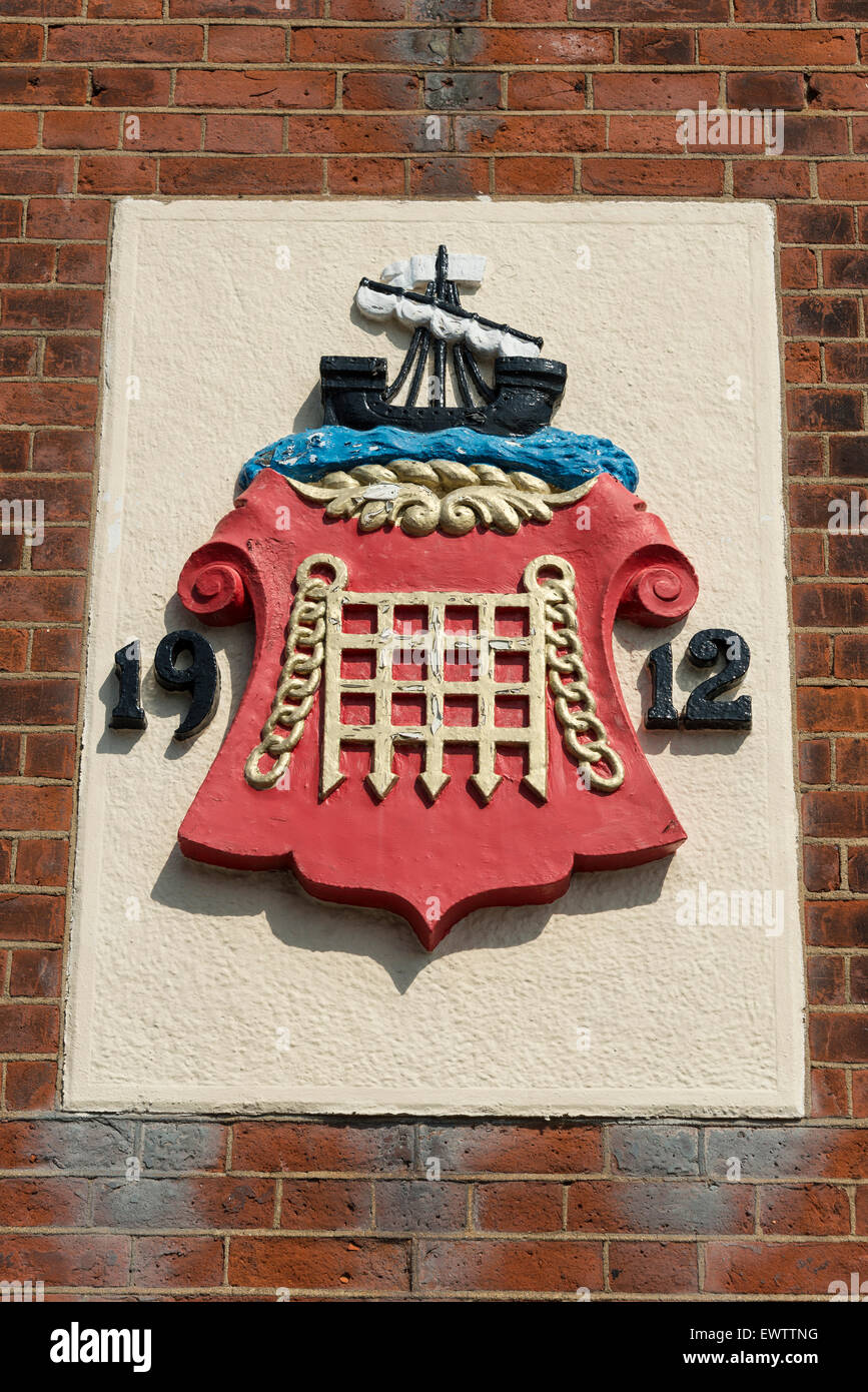 Maritime Coat of Arms, Cow Lane, Harwich, Essex, England, United Kingdom - Stock Image