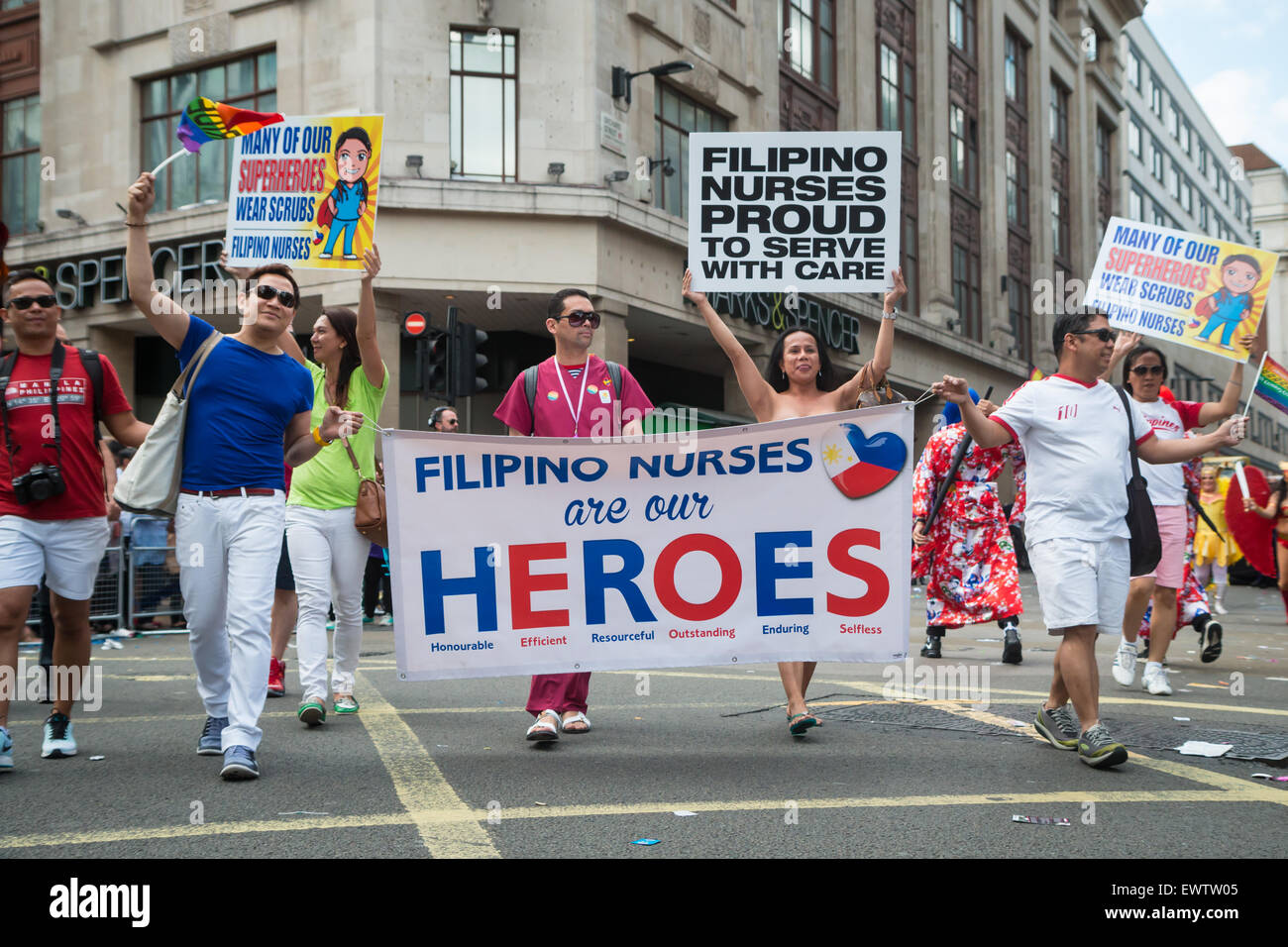 Filipino nurses at Pride in London 2015 - Stock Image