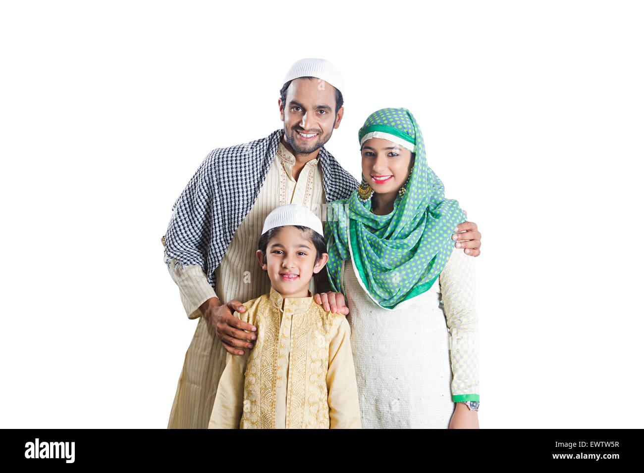 indian Muslim Parents and son - Stock Image