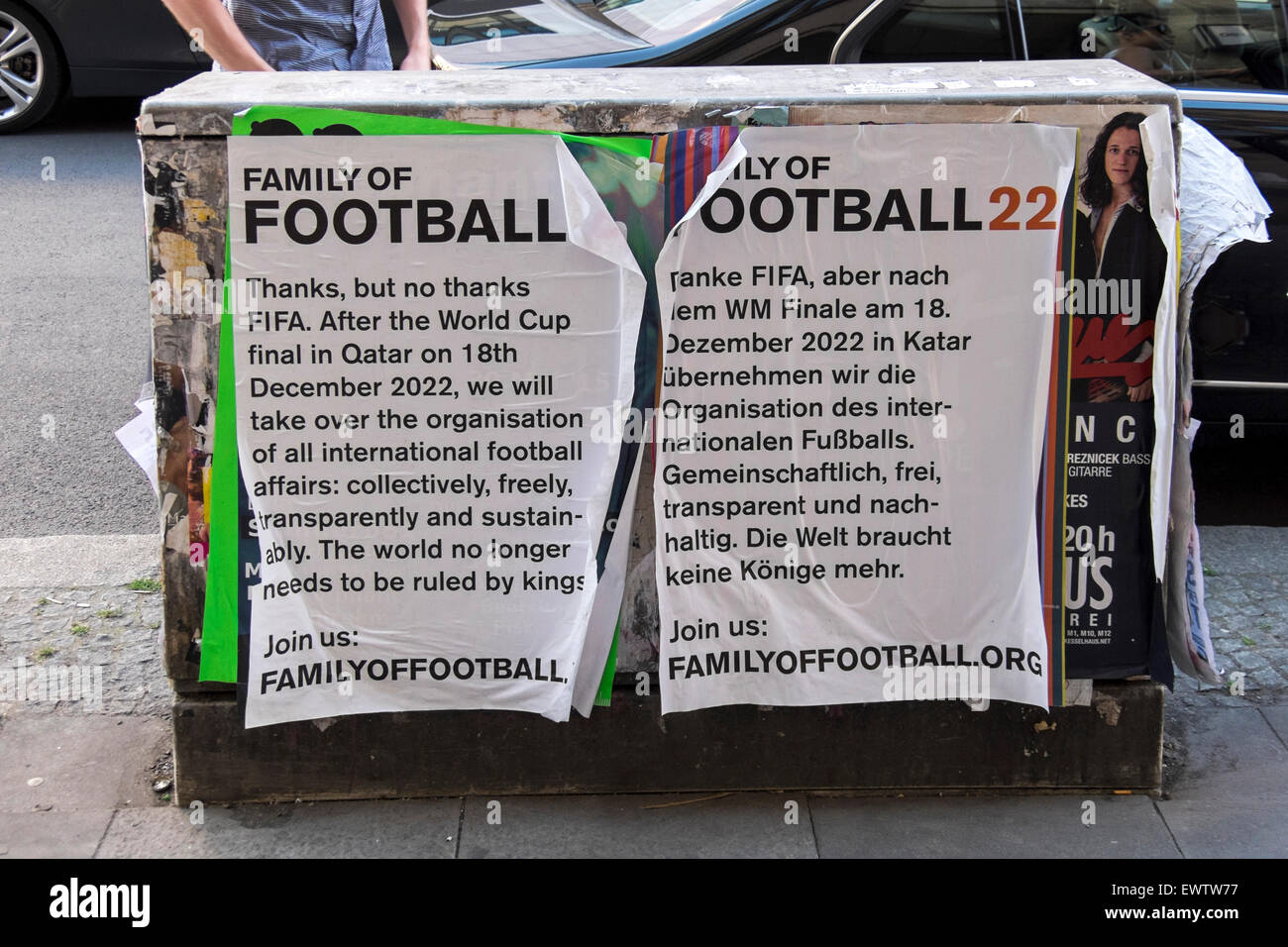 Family of Football poster objects to Football ruling body, FIFA - Stock Image