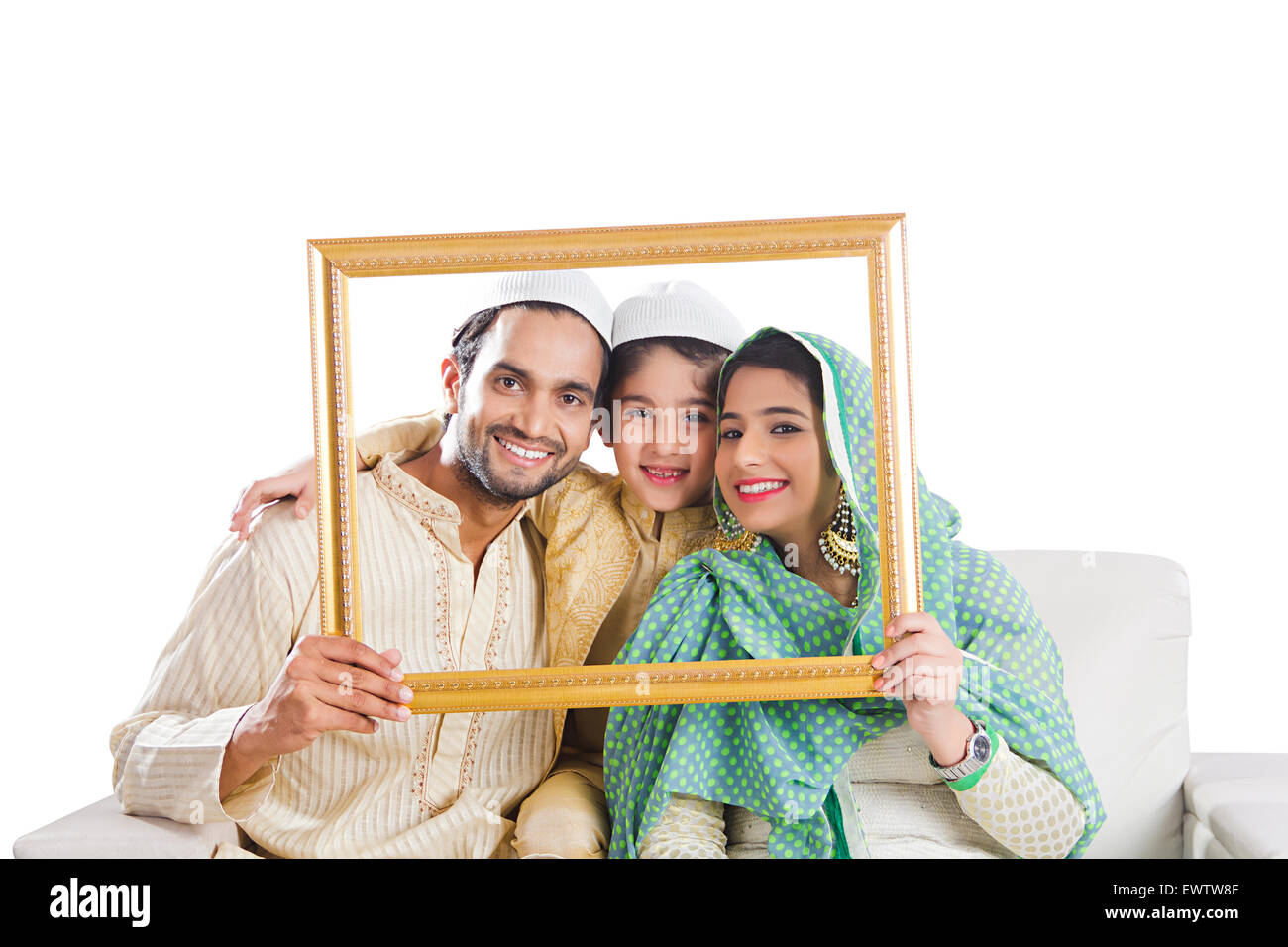 indian Muslim Parents and son Frame Picture - Stock Image