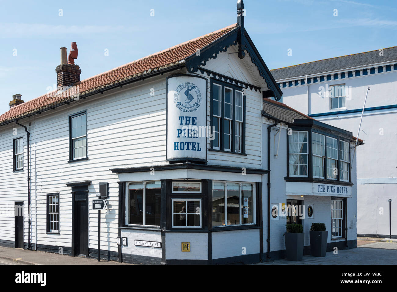 19th Century The Pier Hotel, King's Quay Street, Harwich, Essex, England, United Kingdom - Stock Image