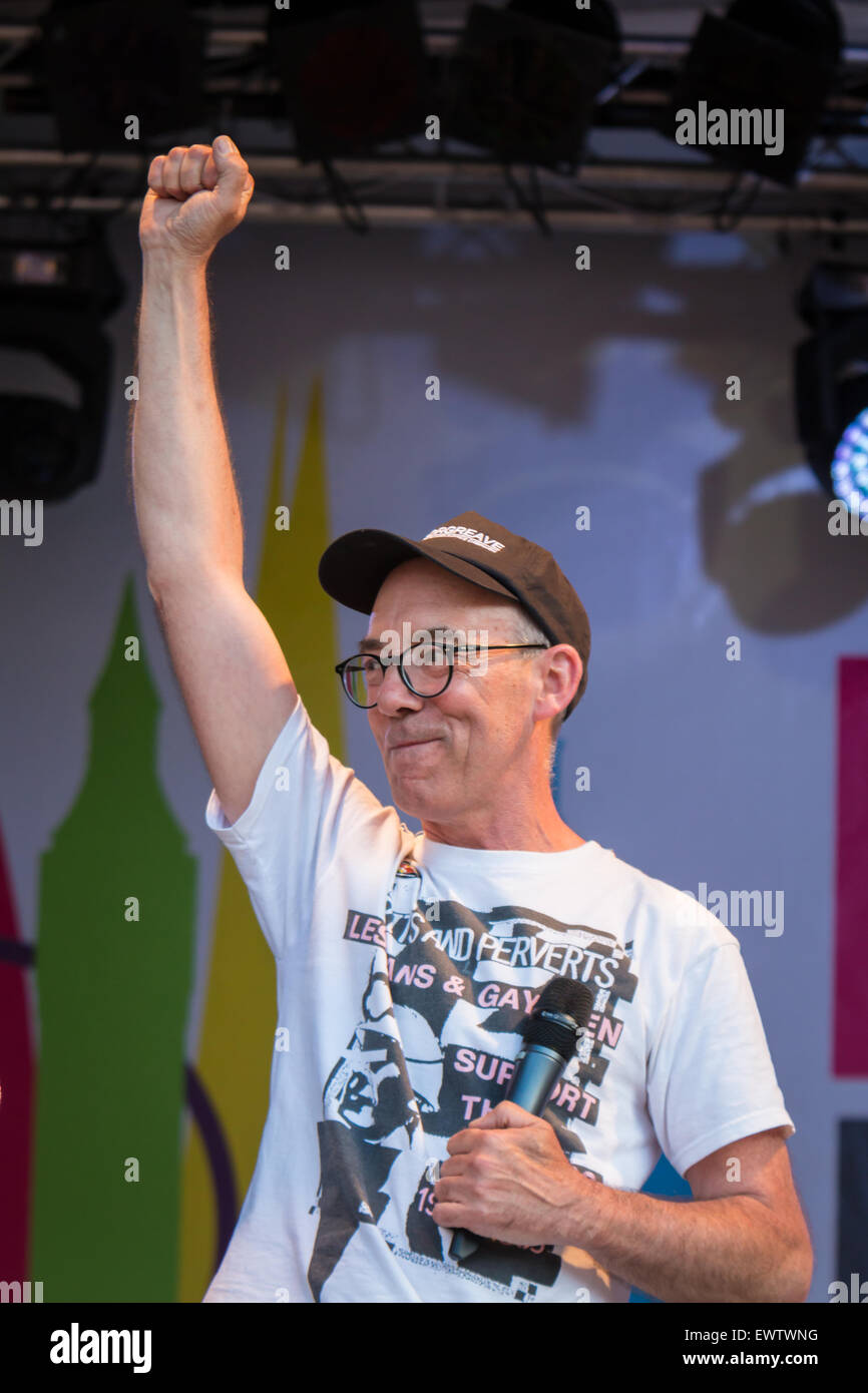 Mike Jackson (founding member of Lesbians and Gays Support the Miners) speaking at Pride in London 2015 - Stock Image