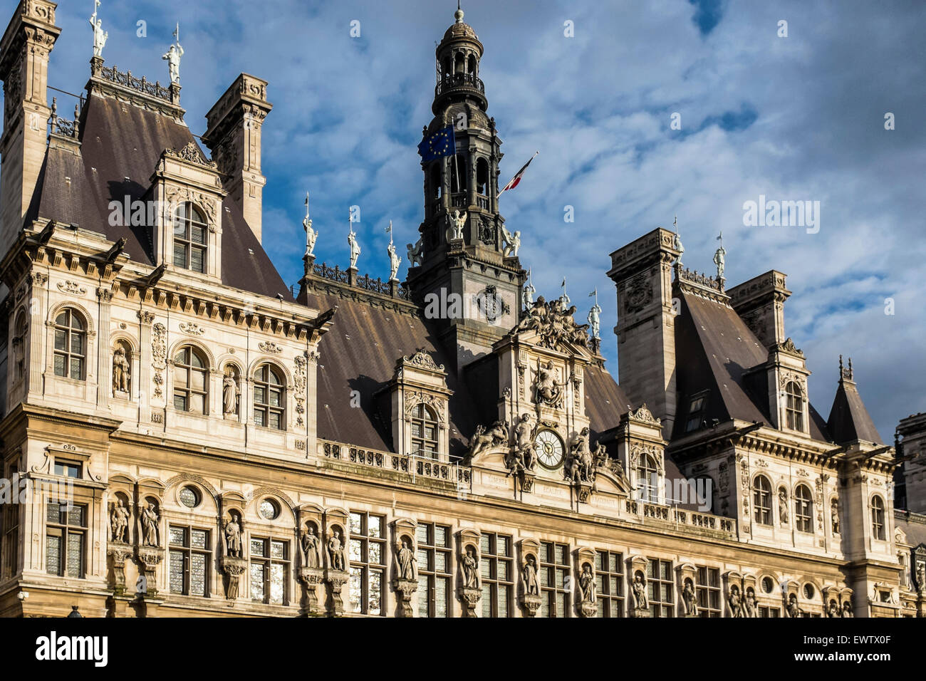 Paris Hotel de Ville, Mairie or city hall housing city's administration. French renaissance style architecture. - Stock Image