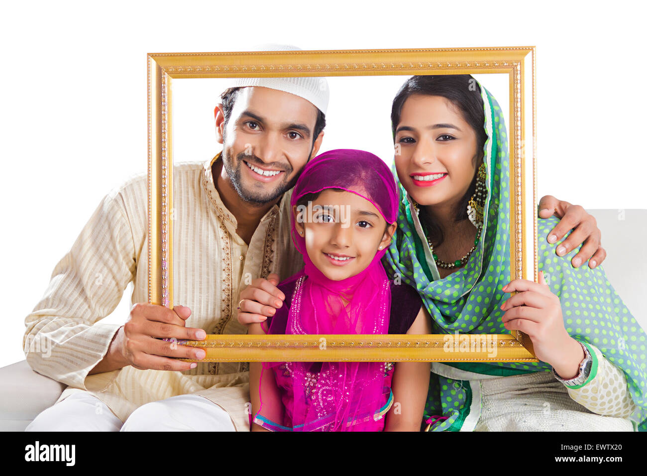 indian Muslim Parents and daughter Frame Photography - Stock Image