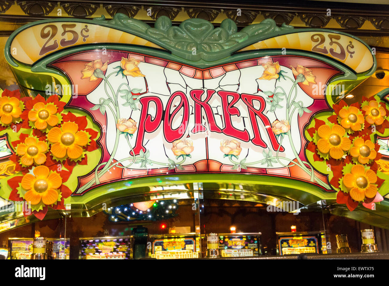 Poker sign in Casino on Royal Caribbean 'Brilliance of the Seas' cruise ship, Baltic Sea, Northern Europe - Stock Image
