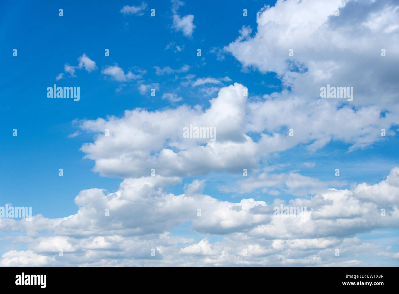 White cumulus clouds and blue sky, North Sea, Northern Europe - Stock Image
