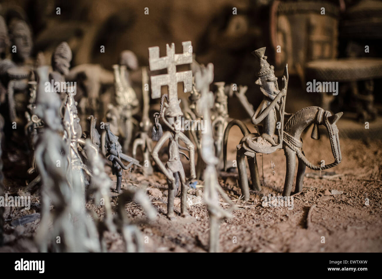 Bronze figurines in Dogon country, Mali. - Stock Image