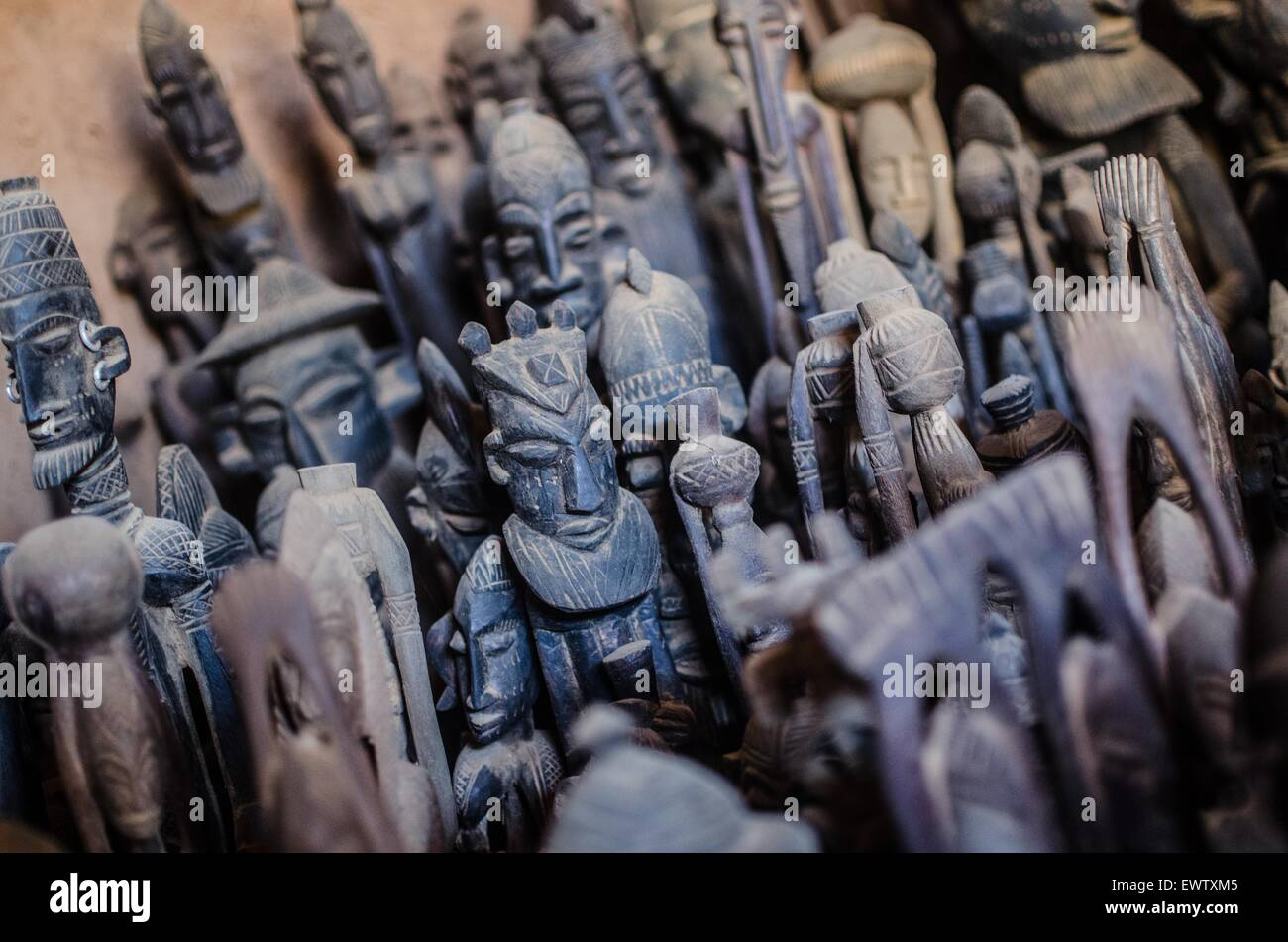 Wooden carvings for sale in Dogon country, Mali. - Stock Image