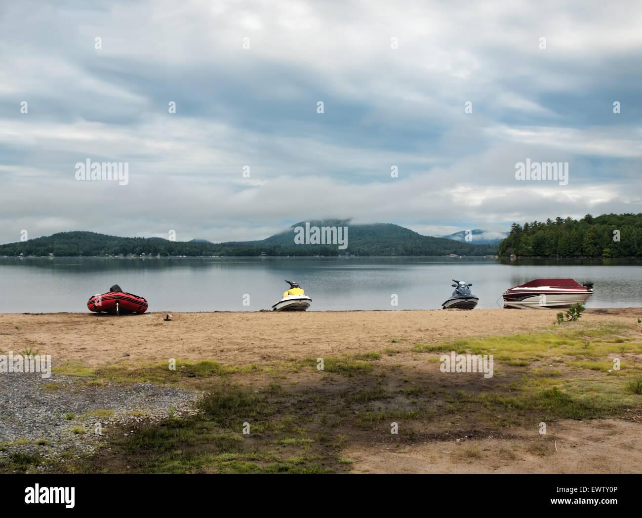 Adirondack Mountains Sacandaga Lake Moffitt Beach - Stock Image