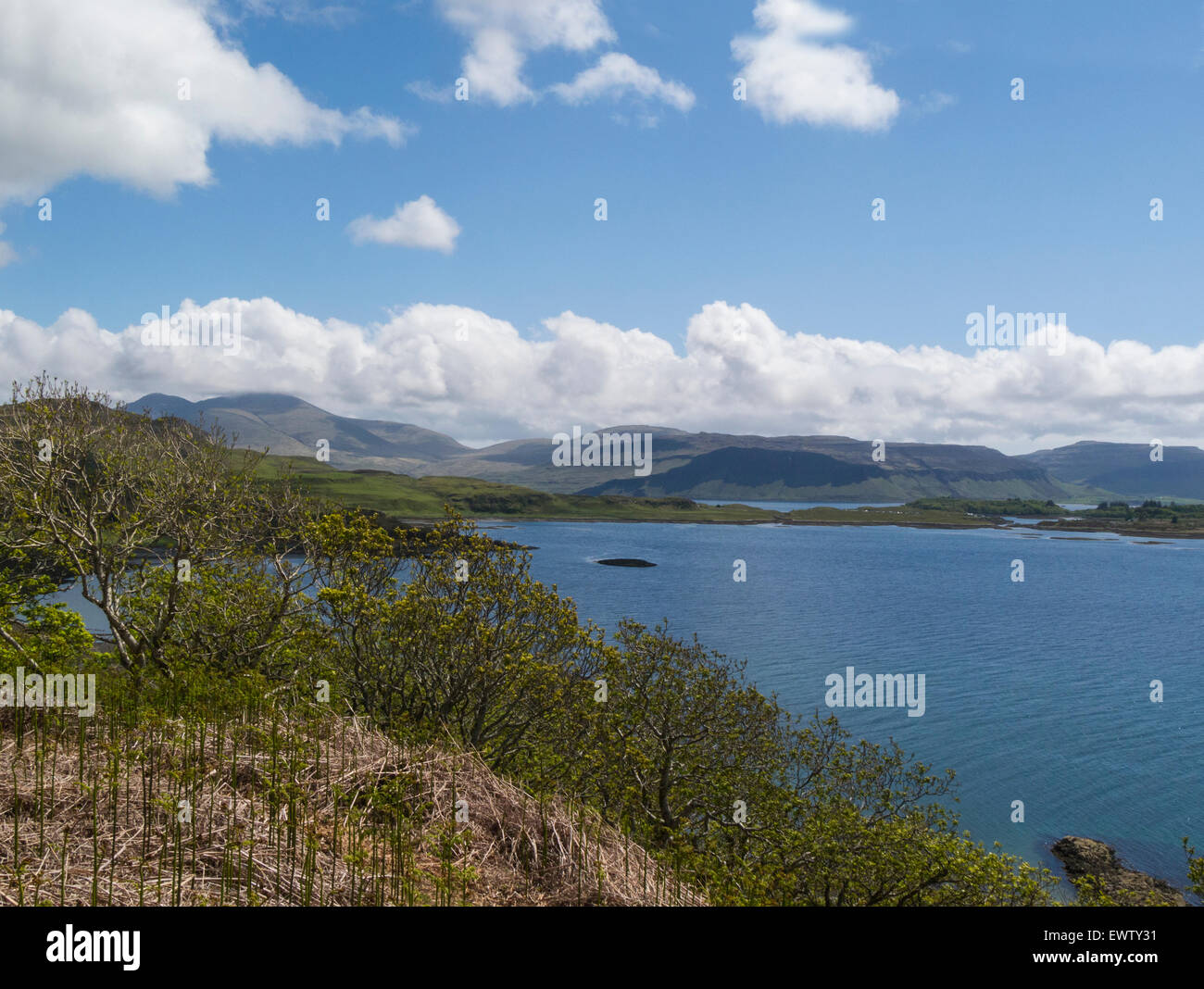 View across Loch Tuath to Island of Ulva Isle of Mull Argyll and Bute Scotland on a lovely June day weather blue - Stock Image