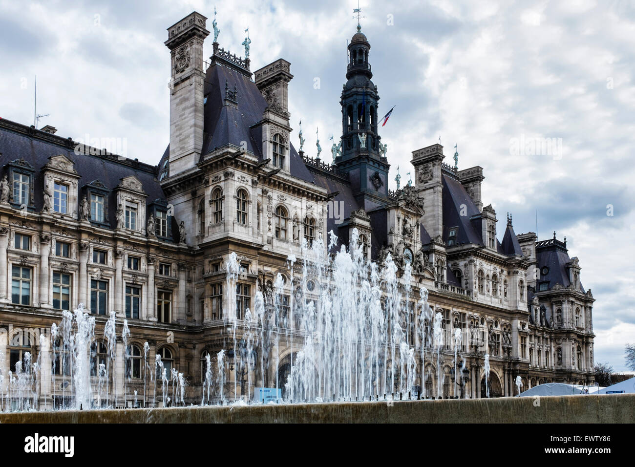 Paris Hotel de Ville, Mairie or city hall housing city's administration. French renaissance style architecture - Stock Image