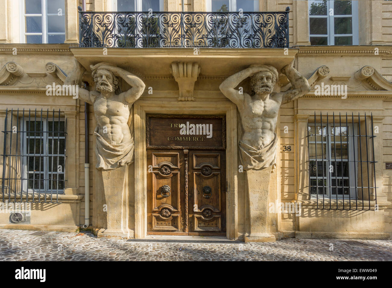 Dorway with caryatids, Tribunal de Commerce, Atlas Firgures,   Cours Mirabeau, Aix-en-Provence, Bouches-du-RhoneStock Photo