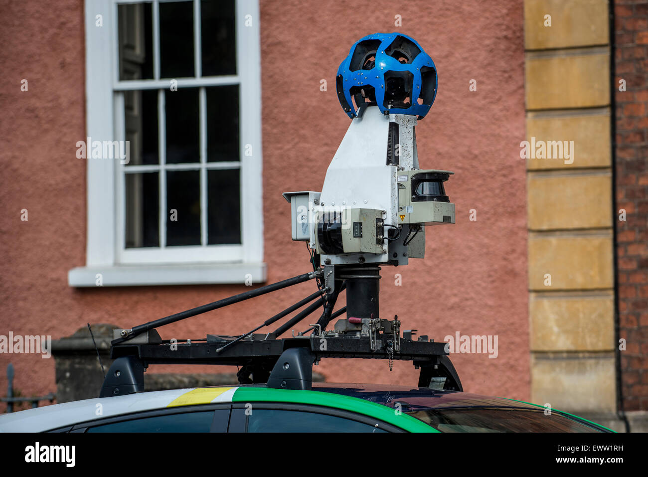 Cameras on top of a Google Street View car on the roads of Bristol in the United Kingdom. - Stock Image