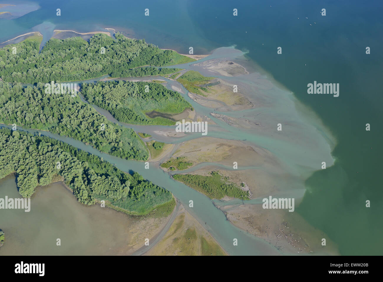 DELTA (aerial view). Tiroler Achen (Großache) river inlet into Lake Chiemsee, Bavaria, Germany. - Stock Image