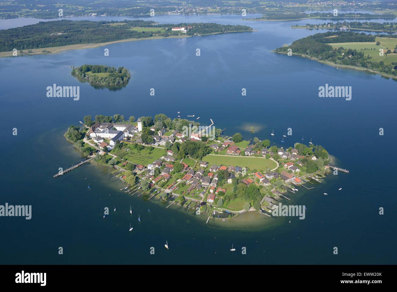 FRAUENCHIEMSEE also FRAUENINSEL ISLAND (aerial view). Lake Chiemsee, Bavaria, Germany. Stock Photo