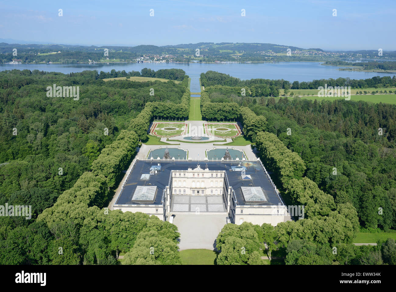 HERRENCHIEMSEE PALACE (aerial view from the east). Herreninsel Island, Chiemsee Lake, Bavaria, Germany. - Stock Image