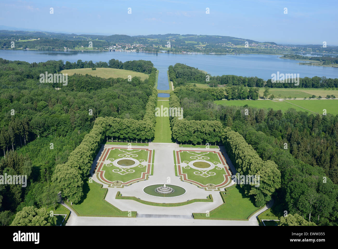 GARDEN OF THE HERRENCHIEMSEE PALACE (aerial view). Herreninsel Island, Chiemsee Lake, Bavaria, Germany. - Stock Image