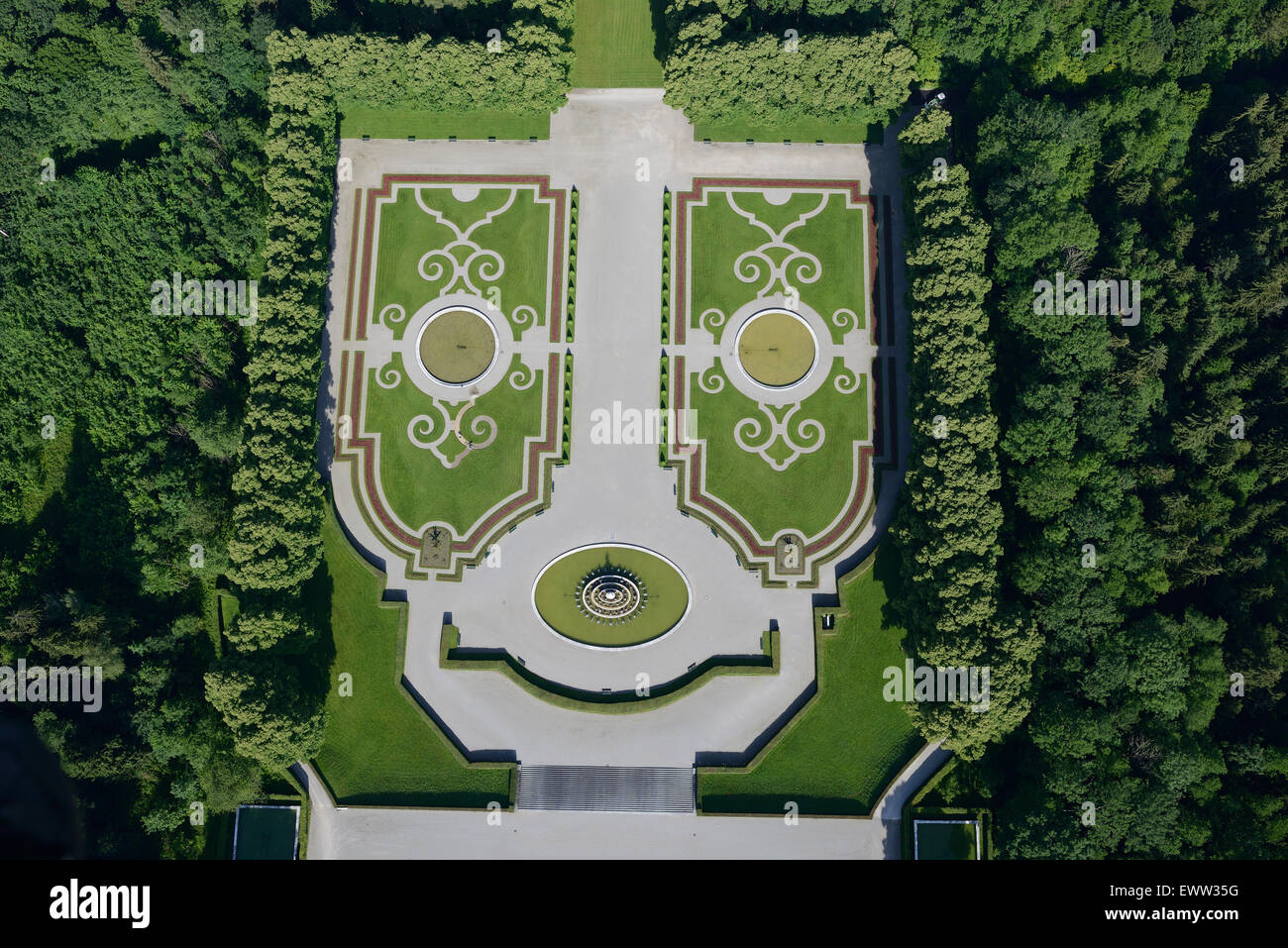 HAPPY FACE (aerial view). Garden at the Herrenchiemsee Palace, Herreninsel island, Chiemsee Lake, Bavaria, Germany. - Stock Image