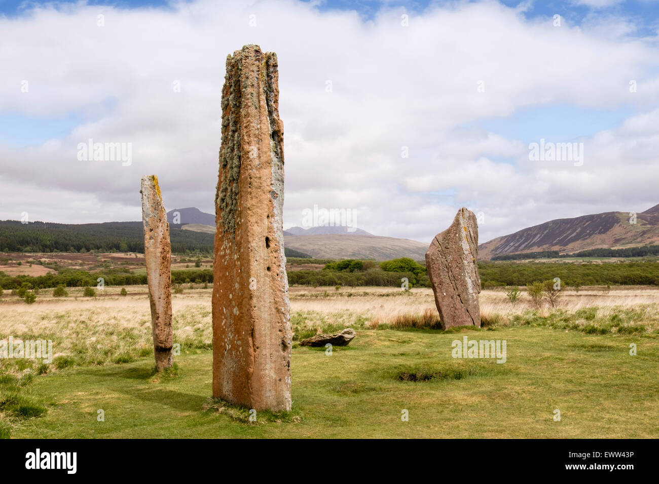 Neolithic standing stones of red sandstone at Machrie Moor stone circles on Isle of Arran North Ayrshire Strathclyde Stock Photo