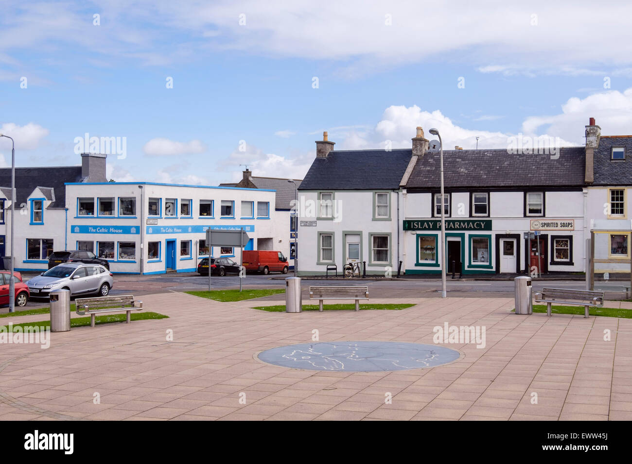 Paved square with island map in town centre. Main Street, Bowmore, Isle of Islay, Argyll and Bute, Inner Hebrides, - Stock Image