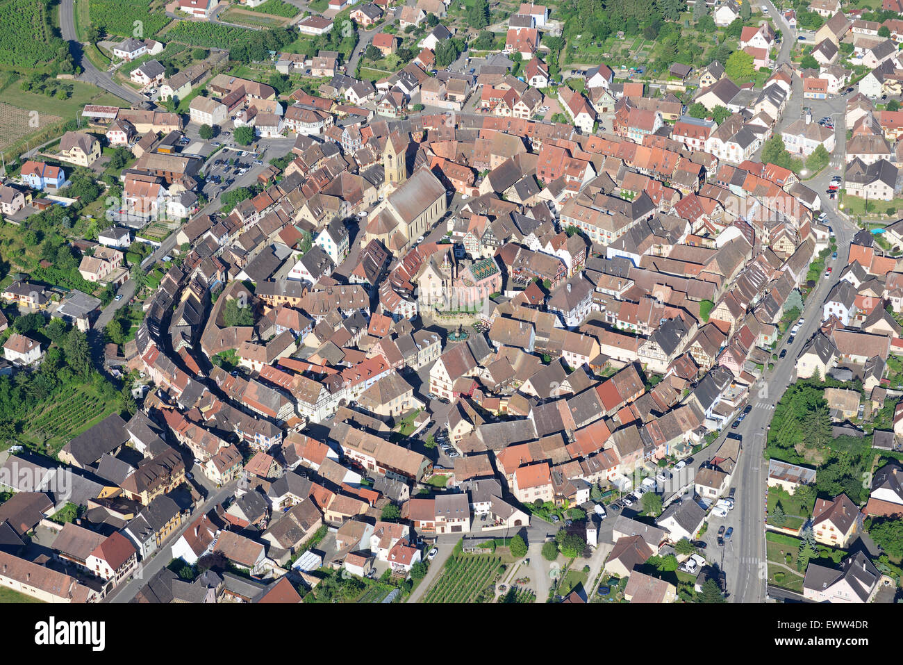 EGUISHEIM (aerial view). Labeled one of France's most beautiful village. Elected France's most beautiful - Stock Image