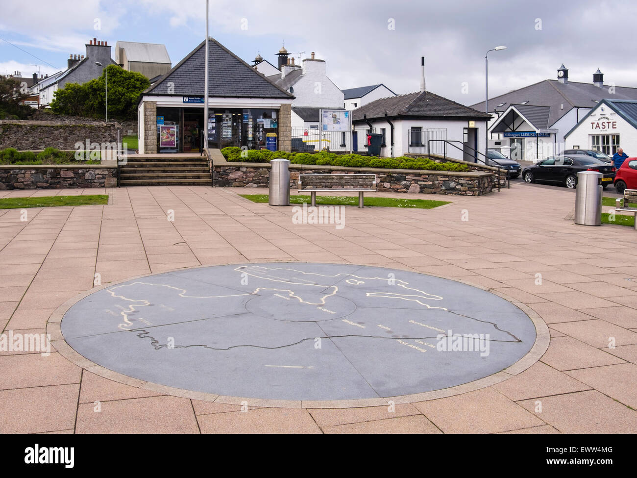 Paved square with island map outside Tourist Information centre in Bowmore, Isle of Islay, Inner Hebrides, Western - Stock Image